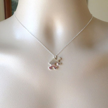 Puzzle Piece Necklace - Silver Puzzle Piece Necklace - Sterling Silver and Base Metal Necklace - Weddings - Bridesmaid Gifts