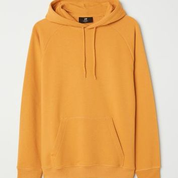 Hooded Raglan-sleeve Shirt - Mustard yellow - Men | H&M US