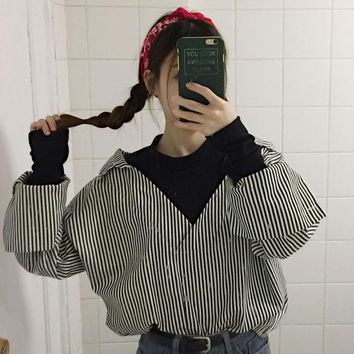 Free shipping 2018 spring new Korean fashion women's shirt Japanese shirt fake two leisure students long sleeve loose Blouses