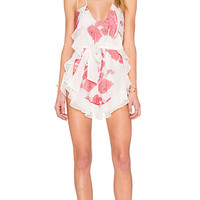 Alice McCall Goddess Romper in Berry Rose | REVOLVE