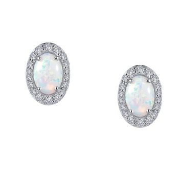 Sterling Silver Simulated Opal and Diamond Halo Stud Earrings.