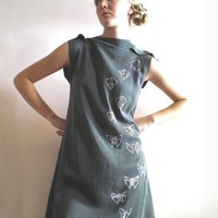 Origami Butterfly black washed silk Dress by nivule on Etsy