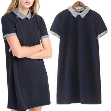 Navy Blue Patchwork Striped Turndown Collar Short Sleeve Cute Casual Homecoming Junior Mini Dress