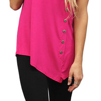 Assymetrical Button Detail Tank Tunic - Magenta