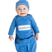 Annabelle | Blue Handsome Baby Receiving Gown and Hat