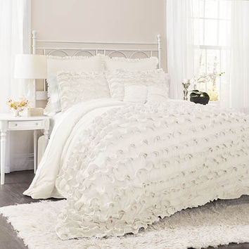 Lush Decor C24492P14-000 Avery Ivory Seven-Piece King Comforter Set - (In No Image Available)