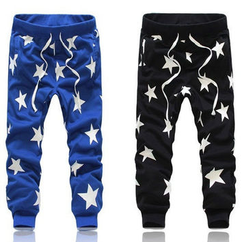 Full Length Harem Jogger Pants in Blue & Black