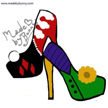 HARLEY Quinn and the JOKER   Design for Heels made with Glitter, Pearls, and Rhinestones