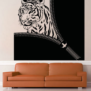 Vinyl Wall Decal Sticker Tiger Zipper #OS_AA1364
