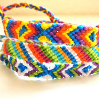 Diamonds and Stripes Neon Friendship Bracelets Layering Bracelets Arm Party- Set of 3