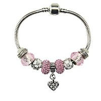 AUGUAU Heart Charm Bracelet with Charms for Pandora for Girls Christmas Birthday Gifts Ideas Pink