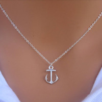 Cute Silver Anchor Necklace