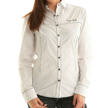 White Button Up with Blue Whip Stitch