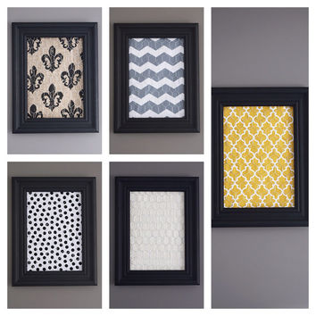 Black Framed Chicken Wire Organizer / Memo Board / Jewelry Hanger / Gray & White Chevron
