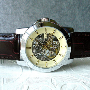 shop elgin watches on wanelo elgin automatic mechanical wrist watch steampunk nouveau skeleton movement silver brown leather anniversary mens birthday wedding