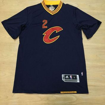 KUYOU Cleveland Cavaliers Kyrie Irving Dark Blue with Champion chapter 100% Authentic Jersey