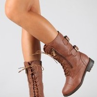 Top Moda Women's Pack-72 Lace Up Combat Boot,Pack-72 Tan 8
