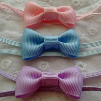 Newborn Infant Mini Bow Headband~ Tiny Baby Girl Headband~ Simple Classic Newborn Bow Headband~ Gift Set for Newborn Infant~ Photo Prop
