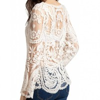 Lookbookstore Women Semi Sexy Sleeve Embroidery Floral Lace White Blouse T-shirt 4.5 out of 5 stars   (2 customer reviews)