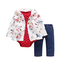 3 Pieces Set Clothes Hooded Zipper Full Sleeve Open flowers Coat Full Sleeve Bodysuits