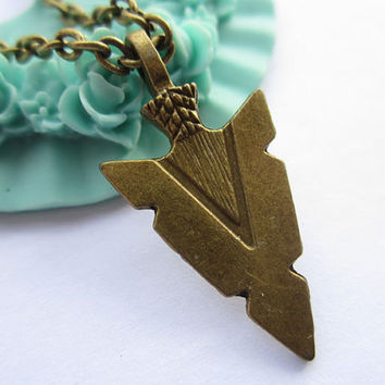necklace---antique bronze arrowhead,alloy necklace