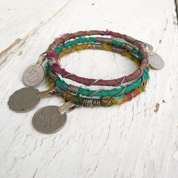 Silk Road Bangle Stack, 3 Piece Set, Tribal Gypsy Coins and Sari Silk, Emerald Green, Yellow