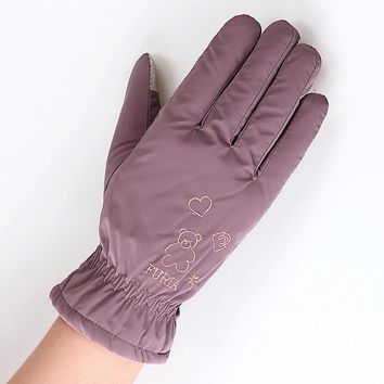 Paul Warm Cotton Touch Phones Female Gloves The New Lovely Bear Coral Fleece Mittens 16 Species Colour Women's Mittens Winter