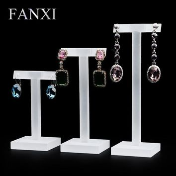 Fanxi Free Shipping T Shape Acrylic Matte Earring Ear Stud Display Rack Holder 3 PCS/Set Shelf Stand Jewelry Box Organizer