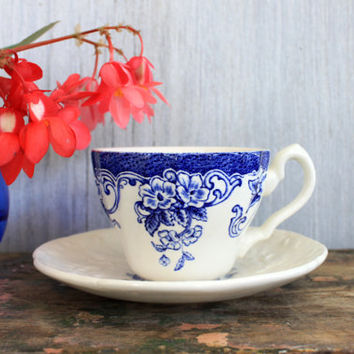 "vintage tea cup and saucer // mason's patent ironstone ""ascot on oak"" and mismatched cup // transferware"