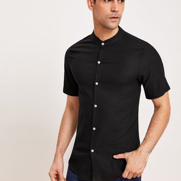 Men Black Button Front Solid Everyday Shirt