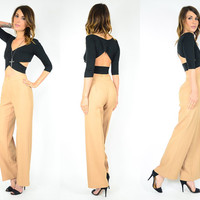 TIGHT cafe au lait HIGH waisted hipster mod TROUSER pants, extra small-small