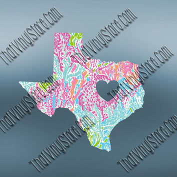 Texas Preppy Pattern State Decal | Texas Heart Home Decal | I Love Texas Decal | Homestate Decals | Love Sticker | 502