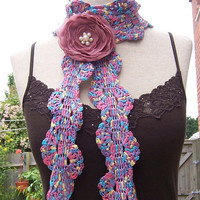 Crochet Skinny Scarf, Crochet Lariat, Women Crochet Scarf, Purple,Blue,Pink and Yellow Scarf, Handmade Scarf