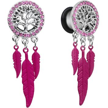 00 Gauge Pink Gem Steel Single Flare Tree of Life Dangle Plug Set