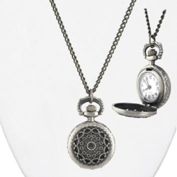Pocket Watch Necklace--Burnished Silver