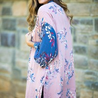 Like We Used To Floral Print Open Cardigan (Mauve)