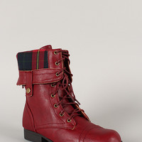 Bumper Freda-03X Plaid Cuff Military Lace Up Boot