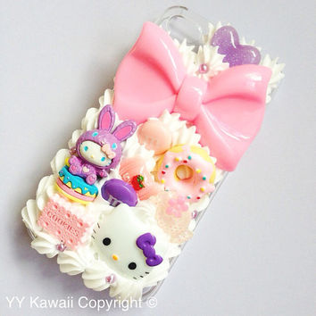 Kawaii Bunny Kitty Decoden Sweets Phone case for Iphone 4/4s, Iphone 5, Samsung Galaxy S2 S3 S4