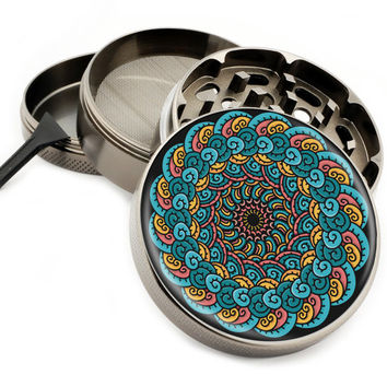"Smoke Cloud Mandala - 2.5"" Premium Zinc Herb Grinder - Custom Designed"