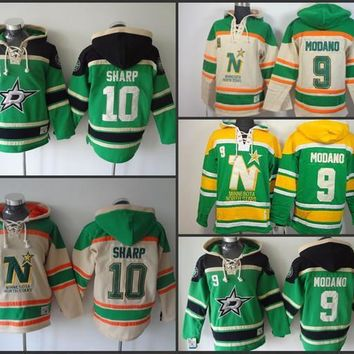 Cheap Mens Dallas Stars Hoodies 9 Mike Modano 10 Patrick Sharp Sweatshirts Stitched Authentic Old Time Hockey Hoodies Size S 3xl