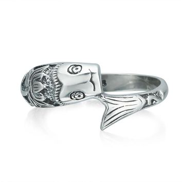 Lucky Fish Silver Ring 100% Real Pure 925 Sterling Silver Ring Carp Pattern Classic Ring for Women Men Wedding Jewelry WR20039