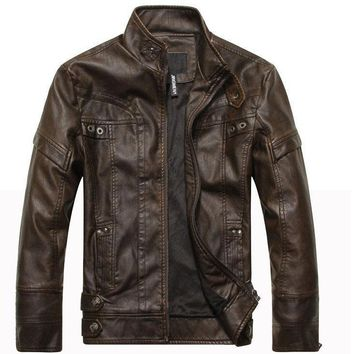 Brand New 2018 Men's Motorcycle Leather Jacket - Men's Jacket