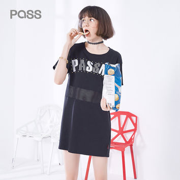 PASS Brand Women Casual Dress Summer New Hallow Out Spliced Short Sleeve O-Neck Letter Female Cotton Printed Dresses