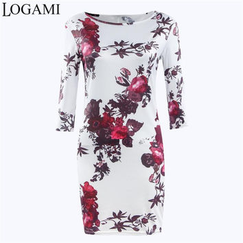 2016 New Style Summer Dress Cartoon Printed O Neck Half Sleeve Mini Party Dresses Women Spring Floral Casual Bodycon Dress Robe
