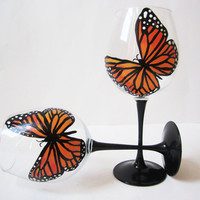 Monarch Butterfly hand painted wine glasses set of by Jdboutique