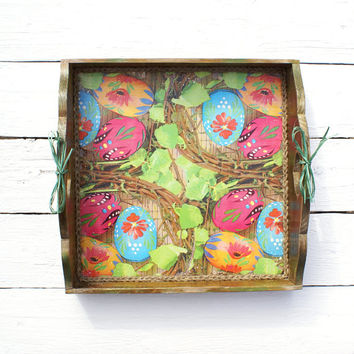Easter Nest Serving Tray, Large  Wooden tray,serving tray ,wood serving tray ,Easter decor,Easter decoration,Easter gift,Easter eggs,rustic