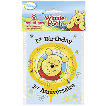 Winnie the Pooh 1st Birthday Invitations