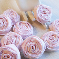 "2"" Light Pink Shabby Chic Cotton Rolled Roses Bulk Set of 20 for bouquet making, diy weddings, shabby chic rustic weddings. Made to Order."