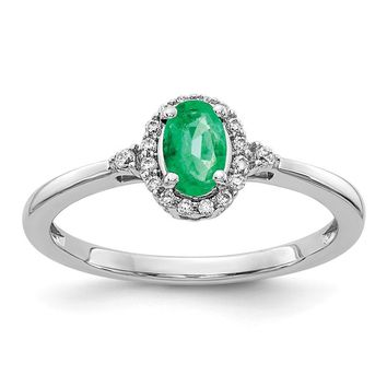 14k White Gold Oval Genuine Emerald And Diamond Halo Ring