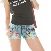 Patched Cutoff Shorts